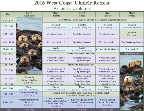 West Coast Uke Fest 2016 - Schedule